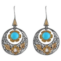 Emma Chapman  Diamond Turquoise 18 Karat Gold Silver Dangle Earrings