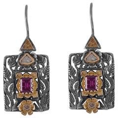 Emma Chapman Rhodolite Garnet Diamond Drop 18 Karat Gold Silver Earrings