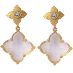 Emma Chapman Rose Cut Crystal Aquamarine Drop Earrings