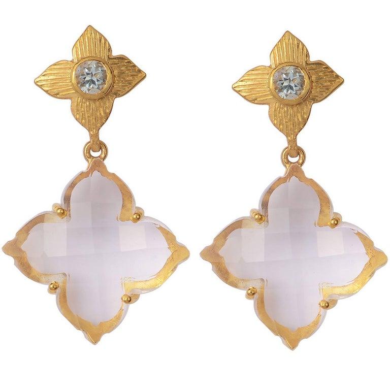 Emma Chapman Rose Cut Crystal Aquamarine Drop Earrings