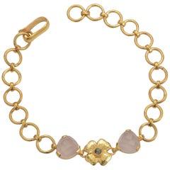 Emma Chapman Rose Quartz Labradorite Gold Plate Bracelet