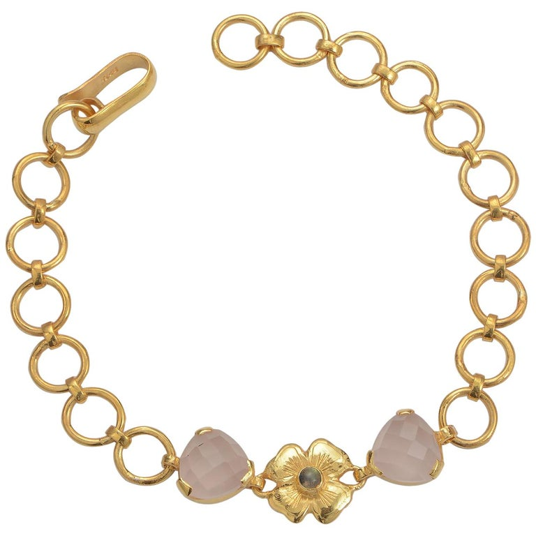 Emma Chapman Rose Quartz Labradorite Gold Plate Bracelet For Sale
