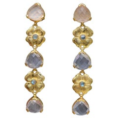 Emma Chapman Rose Quartz Labradorite Tierdrop Gold Plate Earrings