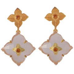 Emma Chapman Rose Quartz Mandarin Garnet Chandelier Gold Plate Earrings