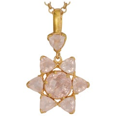 Emma Chapman Rose Quartz Morganite Gold Plate Pendant