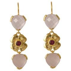 Emma Chapman Rose Quartz Pink Tourmaline Dangle Earrings