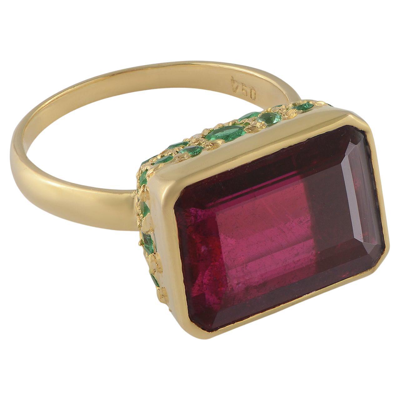 Emma Chapman Rubellite Emerald 18K Gold Statement Ring