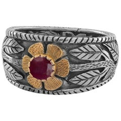 Emma Chapman Ruby 18 Karat Gold Sterling Silver Engraved Flower Ring