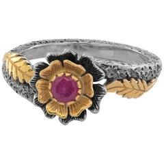 Emma Chapman Ruby 18 Karat Yellow Gold Flower Ring