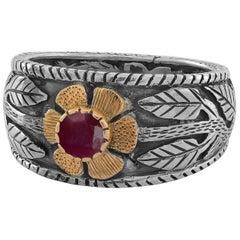 Emma Chapman Ruby 18 Karat Gold Sterling Silver Flower Ring