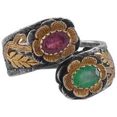 Emma Chapman Ruby Emerald 18 Karat Gold Silver Ring