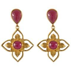 Emma Chapman Ruby Gold Plate Drop Earrings