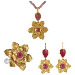 Emma Chapman Ruby Gold-Plate Flower Pendant Earring Ring Suite