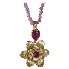 Emma Chapman Ruby Gold Plate Flower Pendant