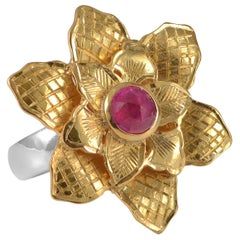 Emma Chapman Ruby Gold Plate Statement Flower Ring