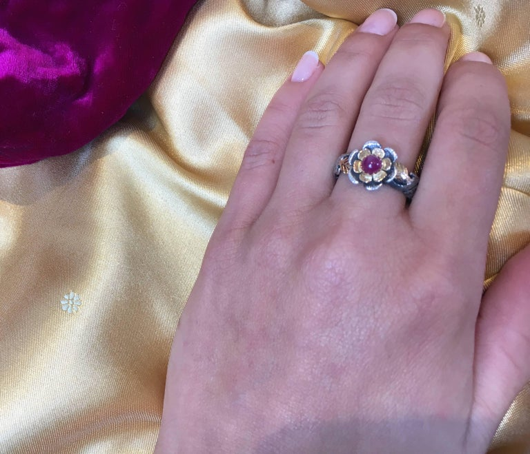 Emma Chapman Ruby 18 Karat Yellow Gold Silver Ring In New Condition For Sale In Frome, GB