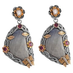 Emma Chapman Sapphire Diamond Tourmaline Statement Earrings
