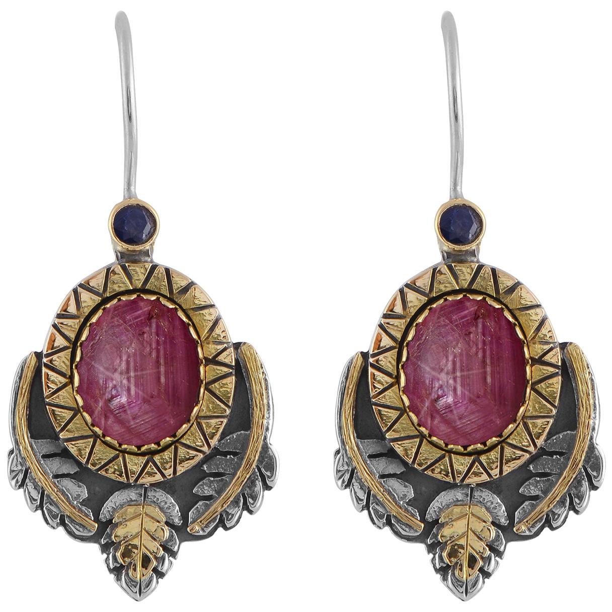 Emma Chapman Star Ruby Sapphire 18 Karat Gold Silver Dangle Earrings
