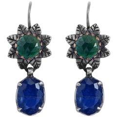 Emma Chapman Tanzanite Chrome Diopside Silver 18 Karat Gold Earrings