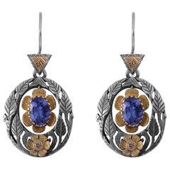 Emma Chapman Tanzanite Diamond 18 Karat Gold Dangle Earrings