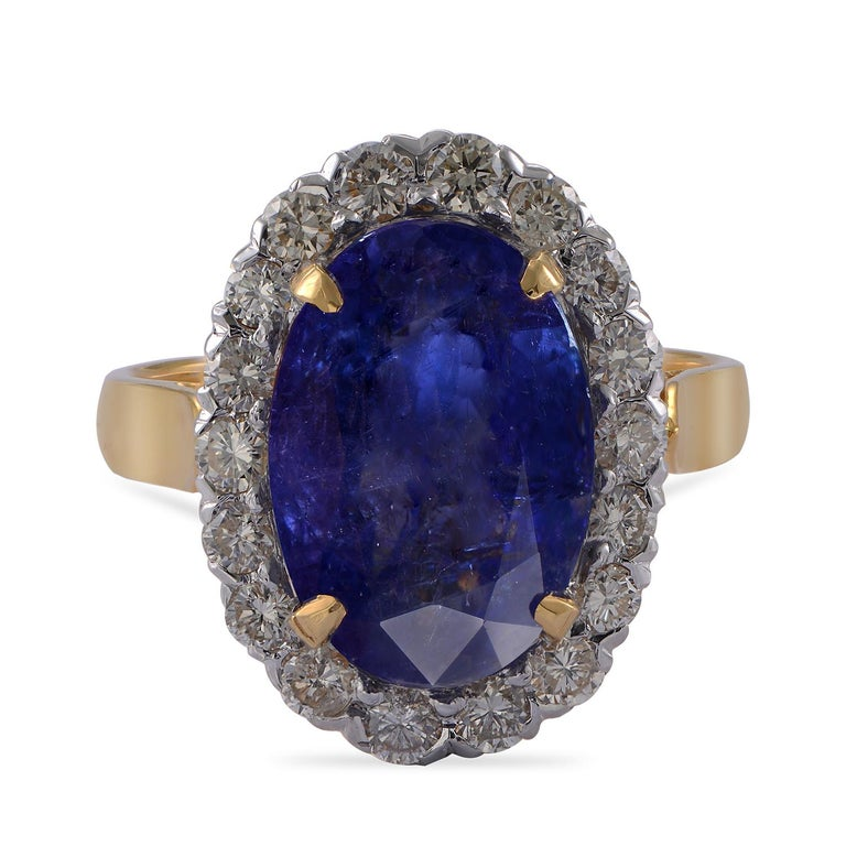 Contemporary Emma Chapman 10.10ct Tanzanite Diamond 18 Karat Gold Cocktail Ring For Sale