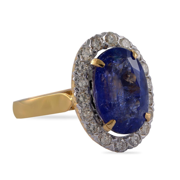 Emma Chapman 10.10ct Tanzanite Diamond 18 Karat Gold Cocktail Ring In New Condition For Sale In Frome, GB