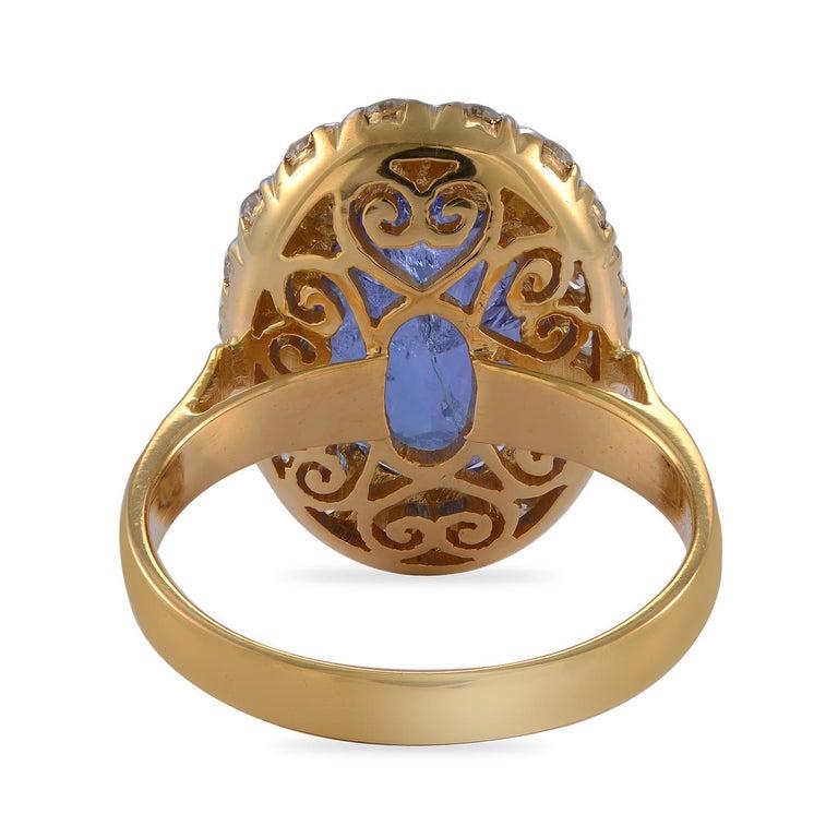 Women's Emma Chapman 10.10ct Tanzanite Diamond 18 Karat Gold Cocktail Ring For Sale