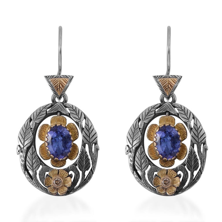 Emma Chapman Tanzanite Diamond Earrings In New Condition For Sale In Frome, GB