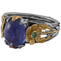 Emma Chapman Tanzanite Emerald 18 Karat Yellow Gold Silver Ring