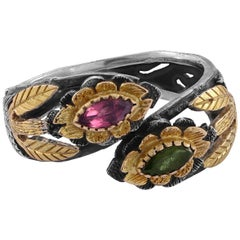 Emma Chapman Tourmaline 18 Karat Gold Silver Cocktail Ring
