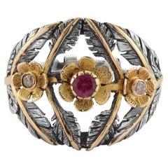 Emma Chapman Tourmaline Diamond 18 Karat Gold Silver Flower Statement Ring