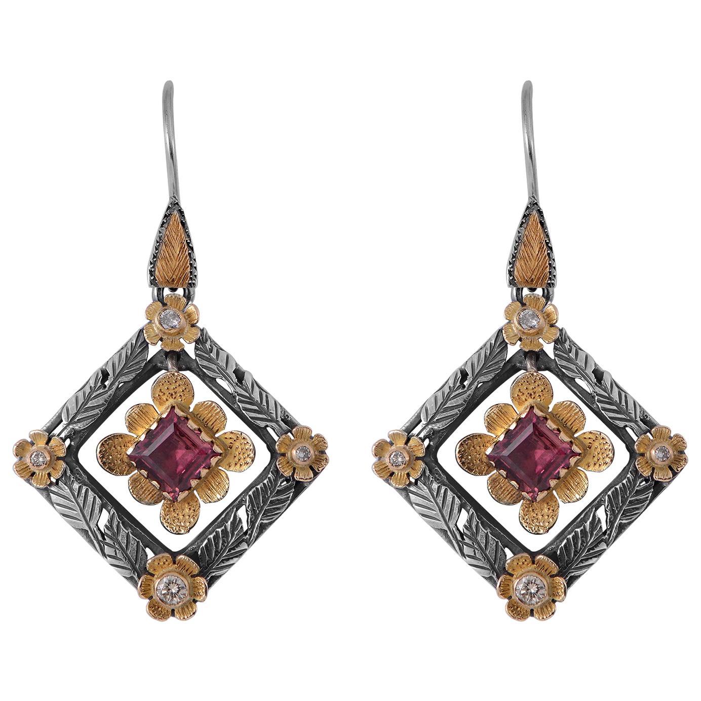 Emma Chapman Tourmaline Diamond 18 Karat Gold Sterling Silver Dangle Earrings