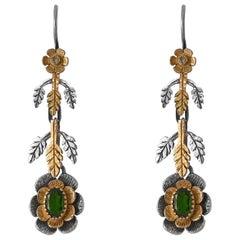 Emma Chapman Tsavorite Diamond 18 Karat Yellow Gold Silver Earrings