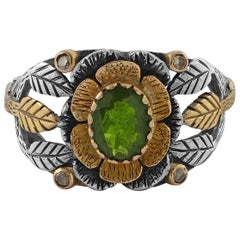 Emma Chapman Tsavorite Diamond 18 Karat Yellow Gold Silver Ring
