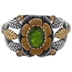 Emma Chapman Tsavorite Diamond 18 Karat Yellow Gold Silver Ring