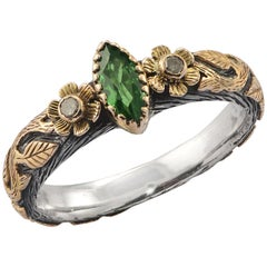 Emma Chapman Tsavorite Diamond 18 Karat Gold Silver Ring