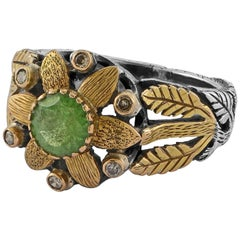Emma Chapman Tsavorite Diamond 18 Karat Yellow Gold Statement Ring