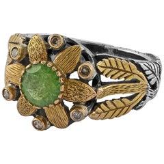 Emma Chapman Tsavorite Diamond 18 Karat Yellow Gold Cocktail Ring