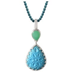 Emma Chapman Turquoise Chrysoprase Mini Silver Carved Pendant