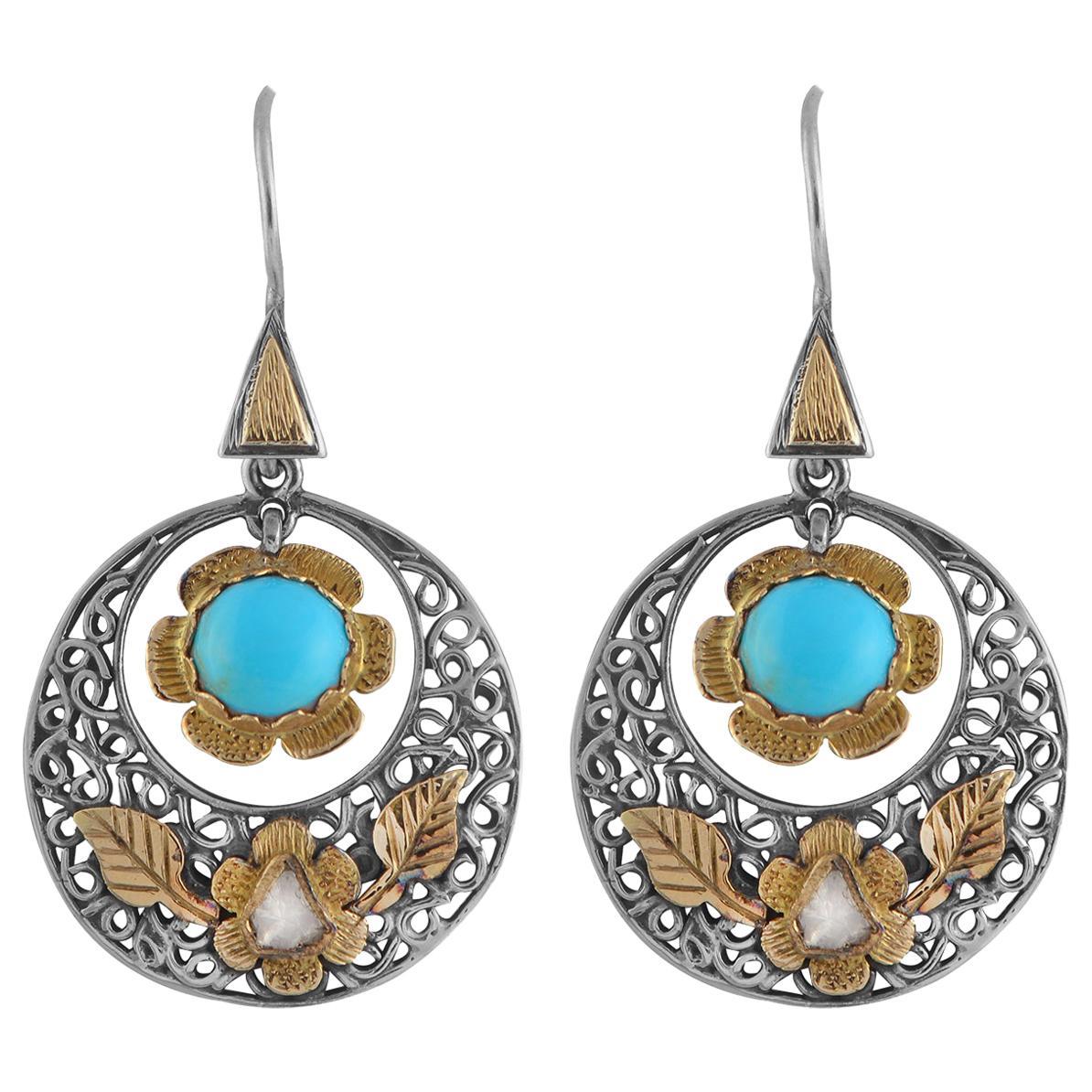 Emma Chapman Turquoise Diamond 18 Karat Gold Silver Dangle Earrings