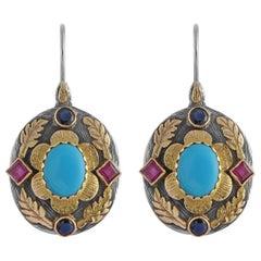 Emma Chapman Turquoise Ruby Sapphire 18 Karat Gold Silver Dangle Earrings