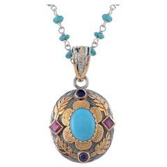 Emma Chapman Turquoise Ruby Sapphire 18 Karat Gold Silver Pendant