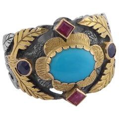 Emma Chapman Turquoise Ruby Sapphire 18 Karat Gold Silver Statement Ring