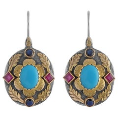 Emma Chapman Turquoise Ruby Sapphire 18kt Gold Silver Pendant Earring Ring Suite