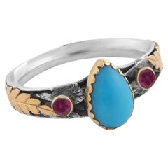 Emma Chapman Turquoise Tourmaline 18k Gold Sterling Silver Ring