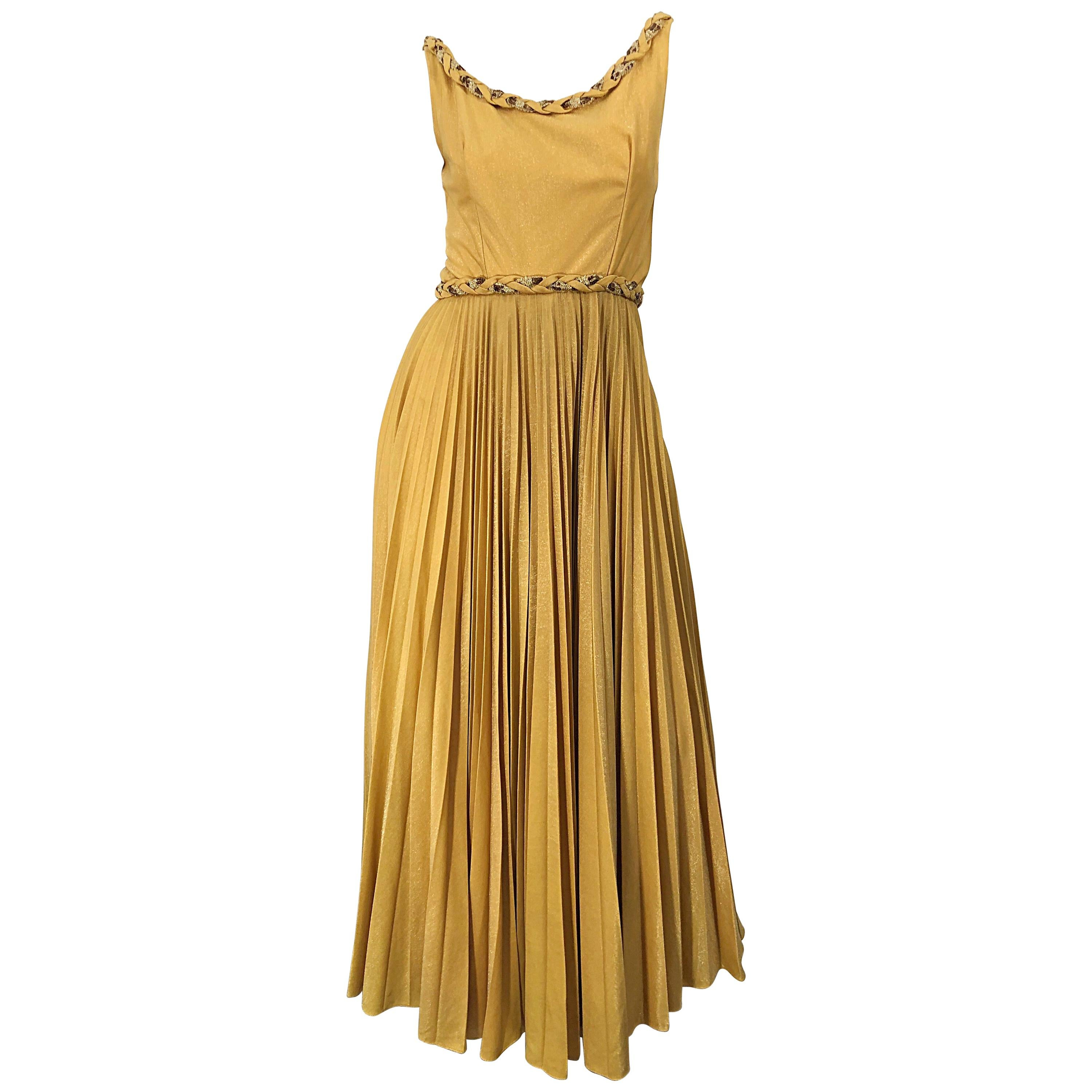 Emma Domb 1950s Gold Metallic Jersey Grecian Style Sequined Vintage 50s Gown