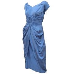 Emma Domb 1950's Periwinkle Blue Satin Cocktail Dress