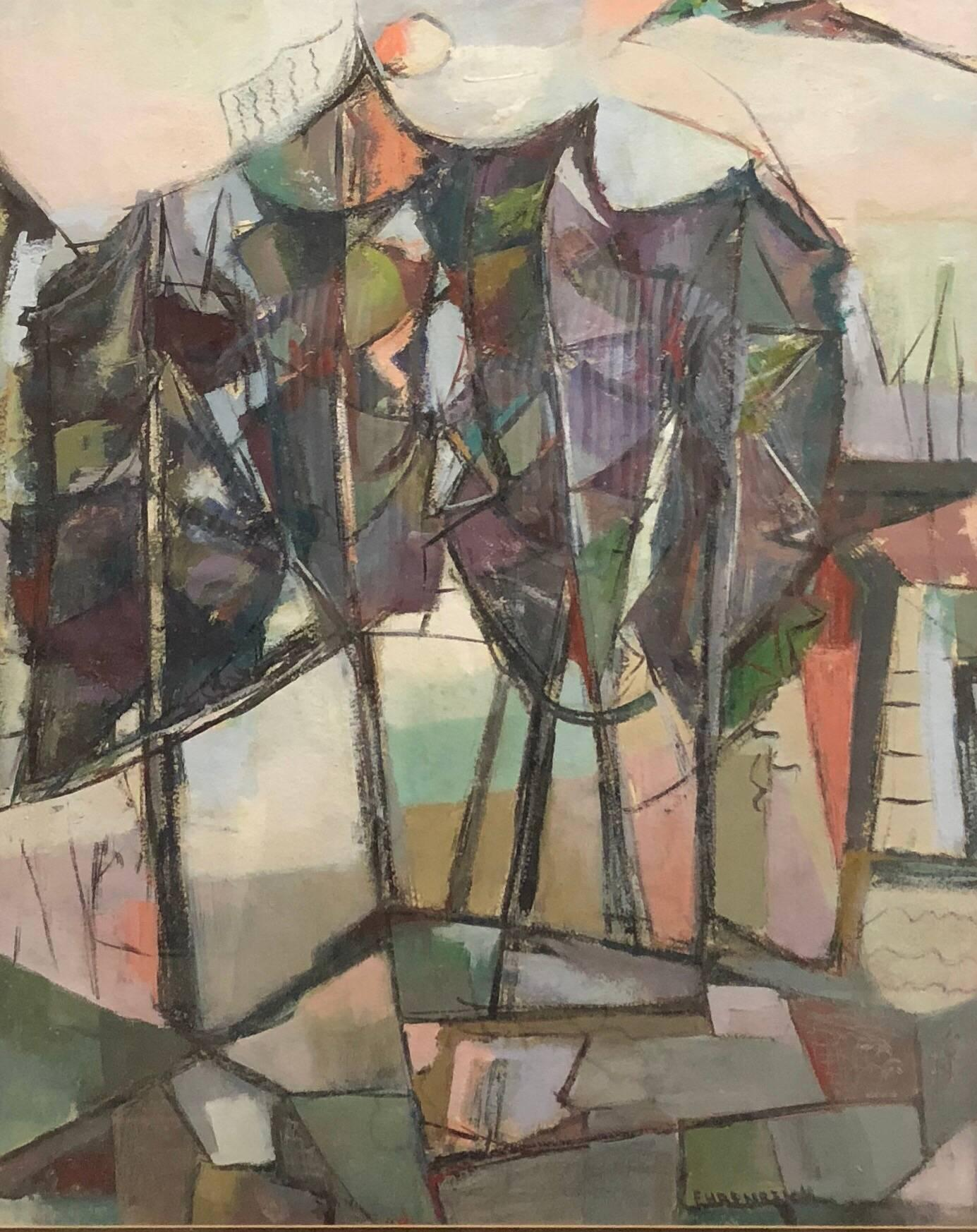 American Woman Modernist Oil Painting Abstract Cubist Landscape