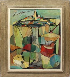 Antique American Modernist Abstract Cubist NYC Landscape Signed Oil Painting