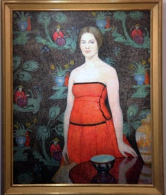Lady in Red, Portrait of a Woman with Table and Vase, Philadelphia Ten, 1926